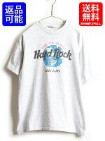 90sUSA製■ハードロックカフェSANJUANプリント半袖Tシャツ(メンズレディースL)古着HardRockCafe企業物霜降りグレー灰|【USA古着】中古プリントTシャツロゴTシャツハードロック男女兼用90年代アメリカ製シングルステッチ半袖Tシャツ杢