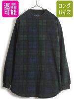 90's■NAUTICAノーティカブラックウォッチチェッククルーネックフリース長袖Tシャツ(メンズ男性M)古着紺緑ロンTNAUTECH|中古フリースTシャツジャケットグリーンネイビーワンポイントスリープウェア90年代オールドワンポイントロゴ刺繍
