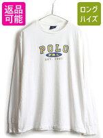 90sUSA製■POLOSPORTポロスポーツラルフローレンビッグロゴプリント長袖Tシャツ(メンズ男性M)古着ロンTロゴT白90年代|中古アメリカ製ラルフポロスポRALPHLAURENロゴTシャツプリントTシャツ長袖Tシャツ白TシャツロングTシャツアメカジ