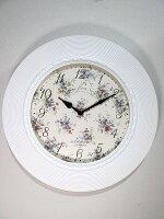 ホワイト掛け時計wa18【掛け時計、置時計、フラワー雑貨】