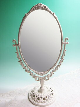 卓上ミラー 化粧鏡 卓上鏡 スタンドミラー ホワイト 姫系 アンティーク ロマンチックホワイトスタンドミラーL♪mr282【大人カワイイ】【新生活】【ラグジュアリー】【RCP】