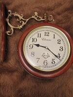 両面時計アンティークシャビー回転アイアン壁掛け時計ブラケット時計ウォールクロックホワイト白姫系薔薇雑貨ローズラインストーン両面時計wa193br