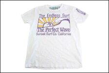 SUNSETSURF/サンセットサーフS/STシャツ「パーフェクトウェイブ」オプティックホワイト