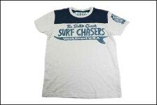SUNSETSURF/サンセットサーフS/S切替Tシャツ「サウスコーストサーフ」ホワイトサンドBYジョンソンモータース