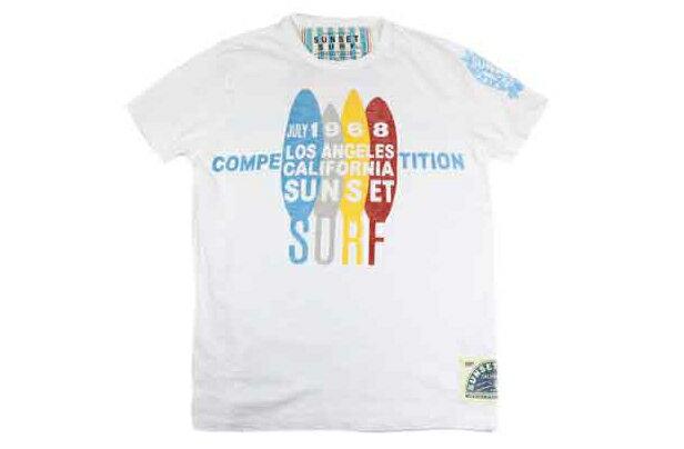 SUNSET SURF サンセットサーフ メンズ 半袖 Tシャツ 「1968 サーフコンペティション」オプティックホワイト BY ジョンソンモータース あす楽 アメカジ バイカー