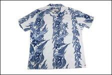 GOODON/グッドオンインディゴフラワーストライプハワイアンTシャツホワイト