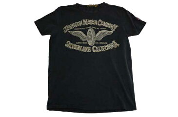 JOHNSON MOTORS ジョンソンモータース S/S Tシャツ 「シルバーレイクホイール」オイルドブラック あす楽 ジョンソン・モータース アメカジ バイカー