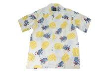 KONABAYHAWAIIコナベイハワイS/Sアロハシャツ「パイナップル」ホワイト