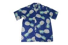 KONABAYHAWAIIコナベイハワイS/Sアロハシャツ「パイナップル」ネイビー