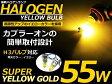 カラーバルブ H3 55Wイエロー ハロゲン 3000K フォグランプ【バーナー 左右セット 2本セット ゴールド 黄色 高発色 高輝度 12V ハロゲン バルブ】