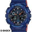 G-SHOCK CASIO 腕時計 メンズ GA-100L-2A デジアナ デジタル アナログ BIG FACE ブランド うでどけい クロノグラフ G−SHOCK スペシャルカラー レイヤードカラー ブラックxブルーxオレンジ