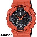 G-SHOCKCASIO腕時計メンズGA-100L-4AデジアナデジタルアナログBIGFACEブランドうでどけいクロノグラフG−SHOCKスペシャルカラーレイヤードカラーブラックxオレンジ