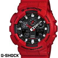 【CASIO/G-SHOCK】【送料無料】【レッド/赤】【アナデジコンビネーション】カシオ腕時計G-ショックアナログデジタルGA-100B-4GA100B-4うでどけいメンズデジタルmen's