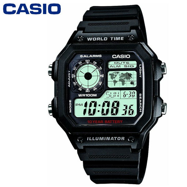 腕時計, メンズ腕時計 2!! WORLD TIME STANDARD DIGITAL CASIO AE-1200WH-1AV
