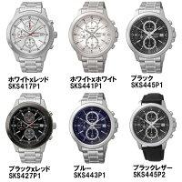 SEIKO腕時計クロノグラフメンズ100M防水メタルレザーカレンダー逆輸入うでどけいMEN'Sブランド