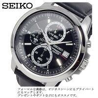 SEIKO腕時計クロノグラフメンズ100M防水メタルレザーカレンダー逆輸入うでどけいMEN'Sブランドセイコー