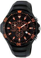 シチズンキューアンドキューCITIZENQ&Qソーラー腕時計SOLARMATE(ソーラーメイト)アナログ表示クロノグラフ機能付き10気圧防水ウレタンバンドオレンジH034-005メンズ