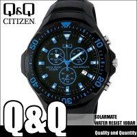 シチズンキューアンドキューCITIZENQ&Qソーラー腕時計SOLARMATE(ソーラーメイト)アナログ表示クロノグラフ機能付き10気圧防水ウレタンバンドブルーH034-004メンズ