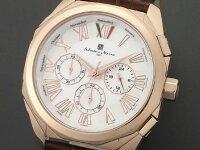 腕時計メンズサルバトーレマーラSALVATOREMARRASM14122-PGWHピンクゴールドホワイトレザークロノグラフ