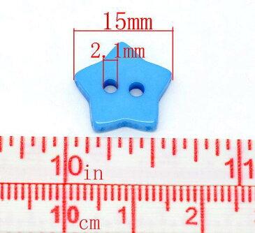 15mm2つ穴星型レジンプラスティックボタンミックス200個@6円!