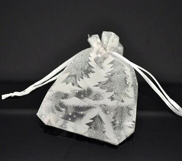 ホワイトクリスマスツリー模様オーガンジー巾着袋★12×9cm★50枚セット(1枚あたり税抜き@38円)