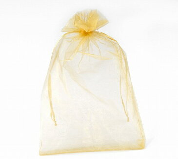 30×20cm 60枚セット ペールイエロー 無地オーガンジー巾着袋 ちょっと大きめサイズでアメニティ入れにもお役立ち♪クリスマスプレゼントラッピングにもOK