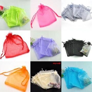ジュエリーの保存やプレゼントに♪オーガンジー無地巾着袋12×9cmサイズ300枚セット★