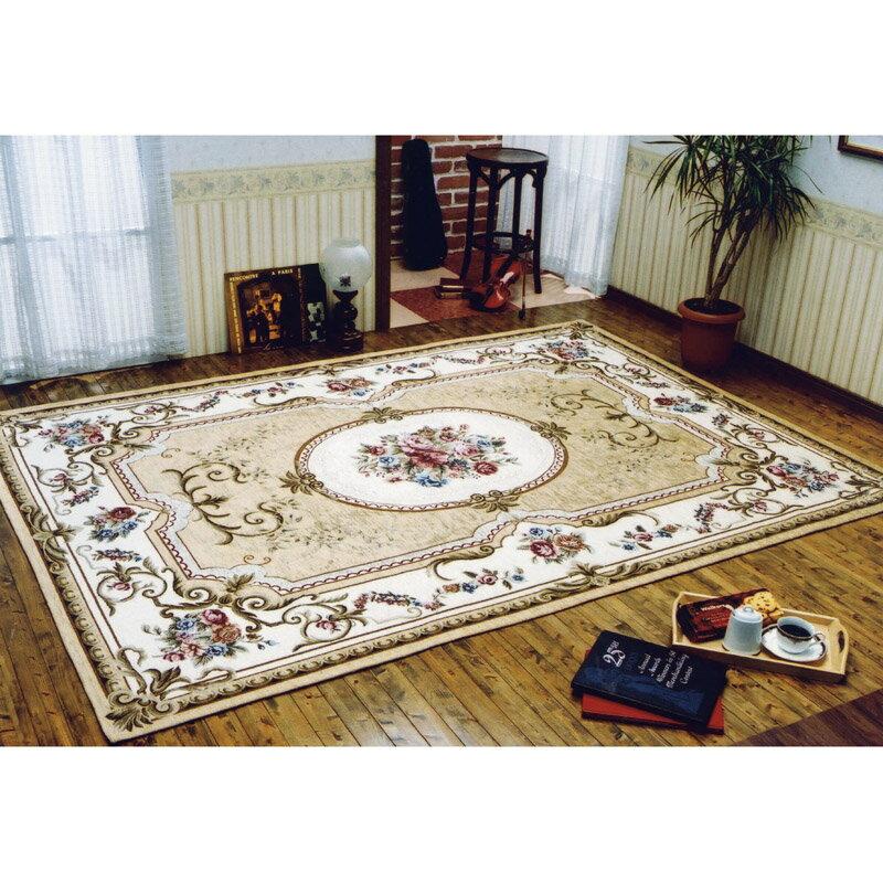 イタリア製ゴブラン織カーペット ベージュ CLASSIC/17524BE【カーペット 絨毯 じゅうたん 優雅 エレガント 長方形 175×240 ゴブラン織 ゴージャス フローリング 上品 手洗い可能 清潔 滑りにくい ベージュ】