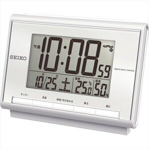 fa05eb5446 セイコー 温度・湿度計付 電波目覚まし時計 SQ698S【 目覚まし アラーム 置時計 シンプル 置き時計 デジタル】 枕元に最適なサイズで温度・湿度 計付○電波オフ機能付○ ...