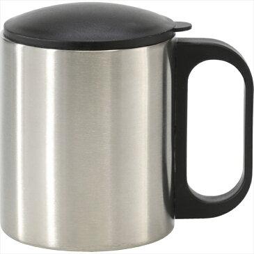 ステンレスマグ(フタ付) 6445【ステンレス カップ コップ マグカップ マグ シンプル 保冷 保温 二重構造 飲料容器 マイカップ 粗品 販促 ノベルティ】