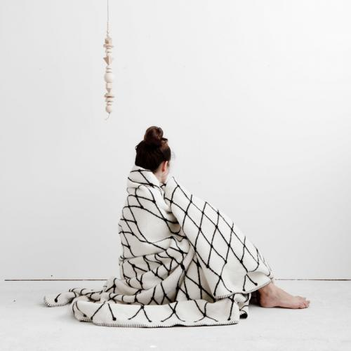 bastisRIKE | THE GRID - COTTON BLANKET (black & white) | 白黒ブランケット