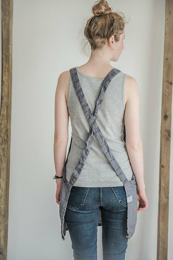 not perfect linen short square cross linen apron dark grey hafen. Black Bedroom Furniture Sets. Home Design Ideas
