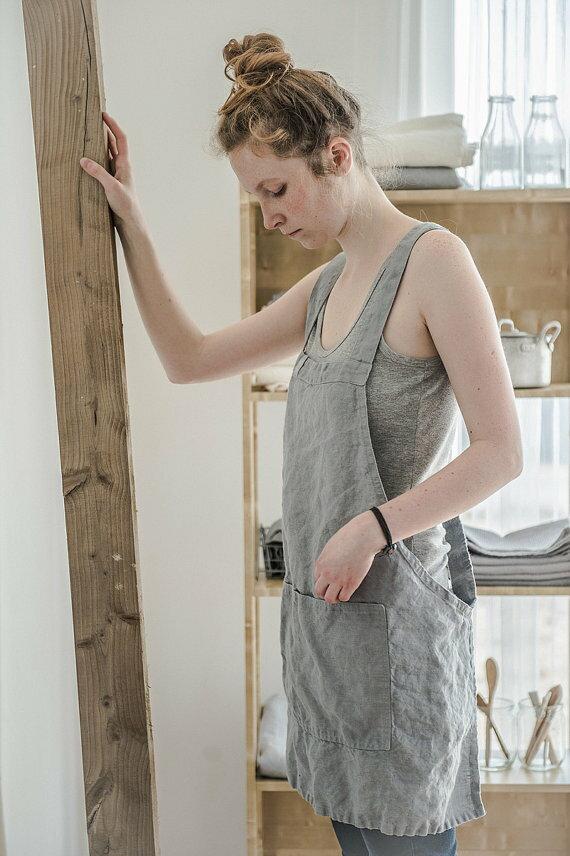 not perfect linen short square cross linen apron. Black Bedroom Furniture Sets. Home Design Ideas