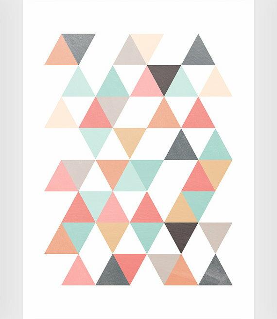 Les temps modernes triangles art a4 for Tableau geometrique pastel
