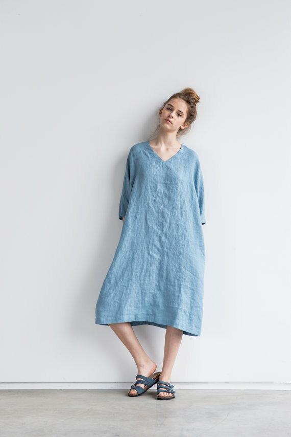 1 not perfect linen washed linen kimono tunic swedish blue hafen. Black Bedroom Furniture Sets. Home Design Ideas