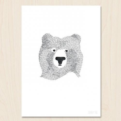 SEVENTY TREE | BEAR OF FEW WORDS | A4 アートプリント/ポスター【UK 北欧 白黒 モノクロ シンプル おしゃれ】ベア くま クマ 熊 おすすめ おしゃれ かっこいい 人気 ギフト プレゼント a4 ポスター 北欧 アートポスター a4 送料無料