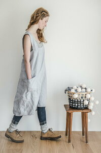 not PERFECT LINEN | PINAFORE - SQUARE CROSS LINEN APRON (washed silver) | エプロン【リネン 麻 ナチュラル リトアニア 北欧 東欧 シンプル おしゃれ メール便送料無料】