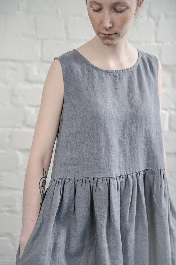 not perfect linen linen dress graphite dark grey uk12 m hafen. Black Bedroom Furniture Sets. Home Design Ideas