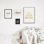 LOVELYPOSTERS LET'SSTAYHOME(goldfoil) A3アートプリント/ポスター