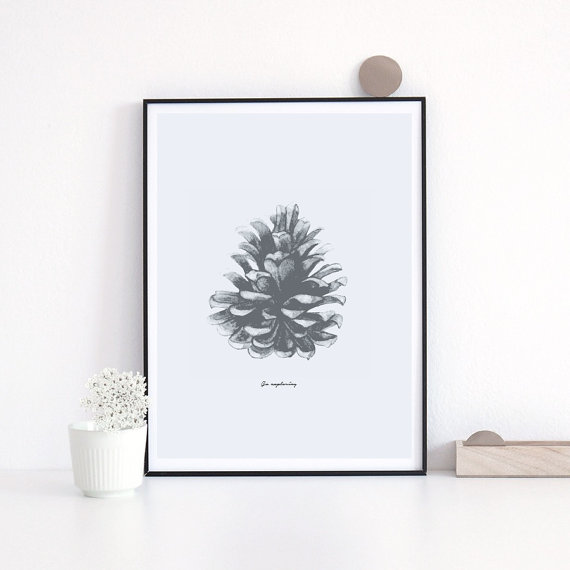 LOVELY POSTERS | PINE CONE PRINT | A3 アートプリント/ポスター【北欧 シンプル おしゃれ】の写真