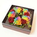レインボーローズとspバラによるボックスフラワー 虹色の薔薇(バラ)のアレンジを ギフトに【花恭】【最安値に挑戦】【クール便】【楽ギフ_メッセ】【母の日ギフト】】【父の日ギフト】【敬老の日】【クリスマス】
