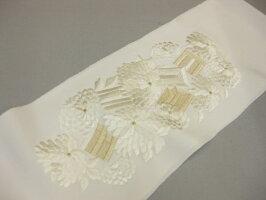 白地金糸・・正絹刺繍半衿−鶴