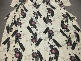 女性レディース浴衣古典柄ブルー浴衣細帯帯留4点セット-菊−紗細帯
