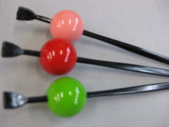 Ball ornamental hairpin - rouge red / pink / green