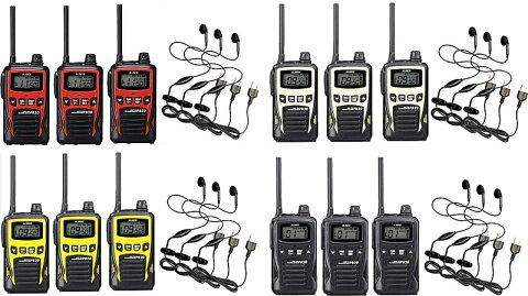トランシーバー 3台セット 特定小電力無線機 インカムアルインコ DJ-PB20×3+HD-12I×3イヤホンマイクセット20チャンネル対応モデル