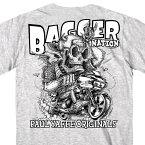 【送料無料!】日本未発売! セール価格! ホットレザー [Paul Yaffe's Bagger Nation] 公認 Monster Double Sided T-Shirt メンズ Tシャツ! ポールヤフィー 半袖 半袖シャツ 米国 HOTLEATHERS 直輸入! バイカー 重ね着 グレー 英字プリント スカル バイクに!