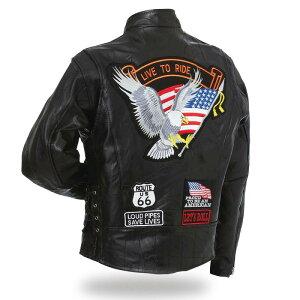 ライダースジャケット・レザージャケット パッチワーク アメリカン イーグル シングル プレゼント