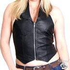 【送料無料!】日本未発売!米国直輸入! ホットレザー 本革 レディース オープン バック ブラック レザー ホルター ベスト! ボンテージ コスプレ SM セクシー ホルターネック 黒 [Open Back Halter Leather Vest] フロントジッパー 女性用 バイクに! 大きいサイズ