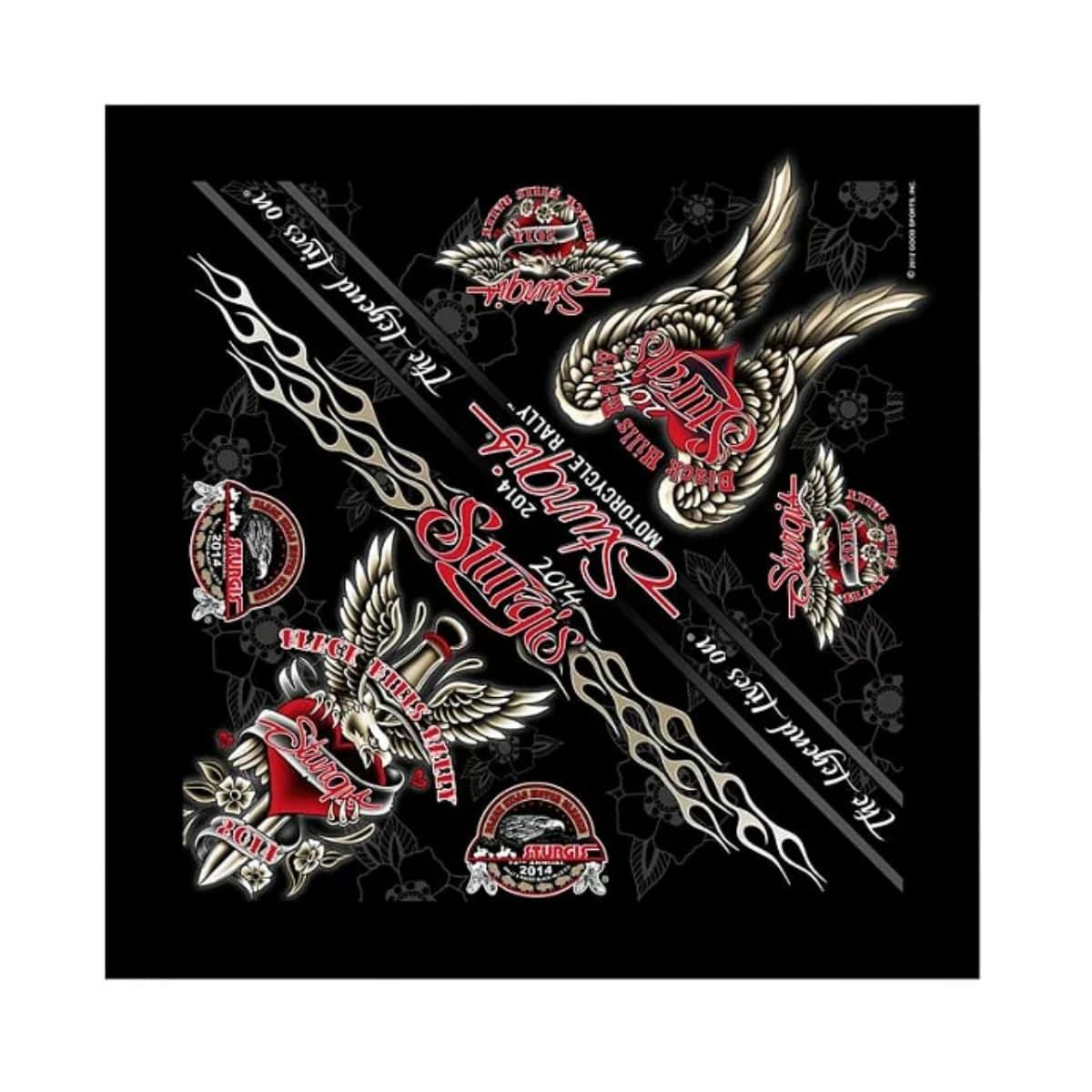 ハンカチ・ハンドタオル, バンダナ ! Sturgis Motorcycle Rally Official 2014 Dagger Heart Bandana ! ! ! !