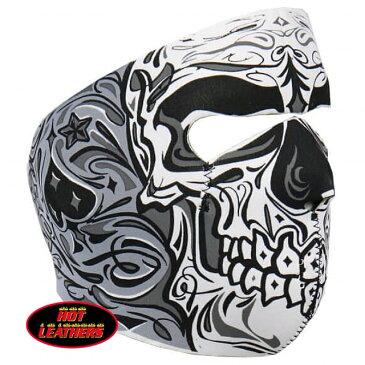【送料無料!】日本未発売!米国直輸入!セール価格! ホットレザー シュガー スカル ネオプレン リバーシブル フェイスマスク [Sugar Skull Neoprene Reversible Face Mask] 黒 日焼け防止 覆面 フルフェイス 防風・防寒 バイクに! サバゲーに!